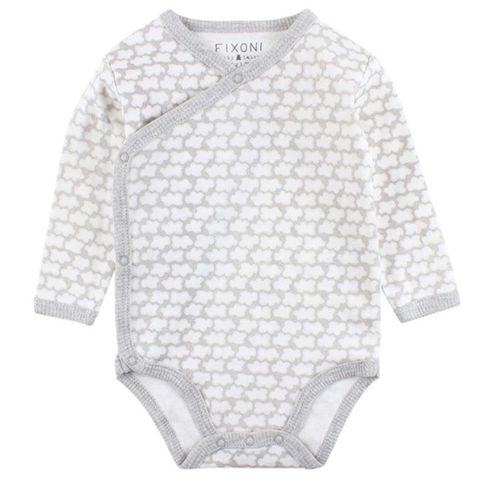 Fixoni omlottbody vit grå moln. Unisex babykläder, Grå och vit body. LillaFilur.se