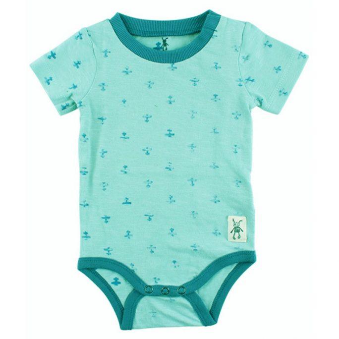 Retro barnkläder. Kortärmad baby body med flygplan. LillaFilur.se