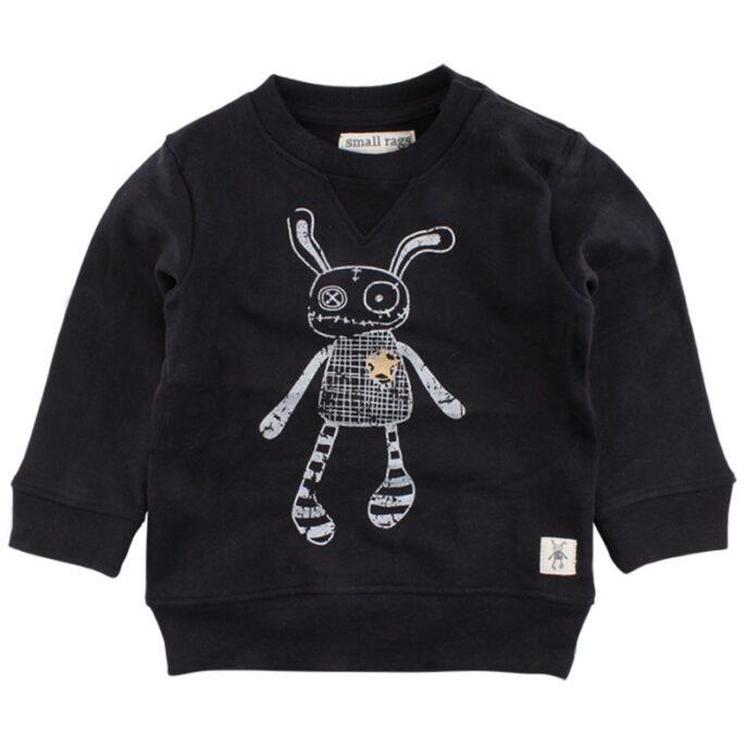 rea small rags svart sweatshirt trasdocka