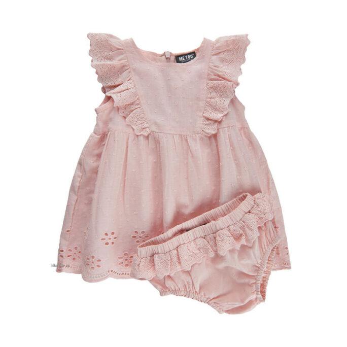 Rosa Spetsklänning med Spetstrosor för baby.