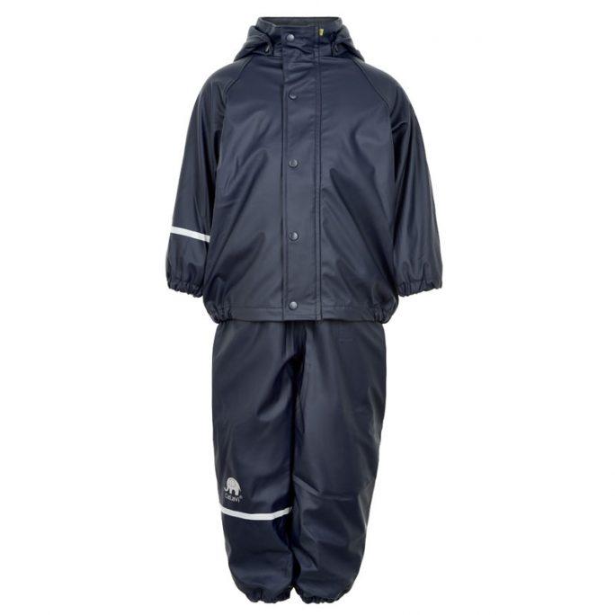 Fleecefodrade regnkläder. Marinblått regnställ med foder. LillaFilur.se