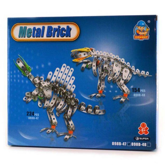 Byggsats i metall med dinosaurie. Liknande meccano skruvas delarna ihop till en dinosaurie modell. Innehåller 150-200 stycken delar. Finns 2 olika dinosaurier. Beställ byggsats i metall hos LillaFilur.se