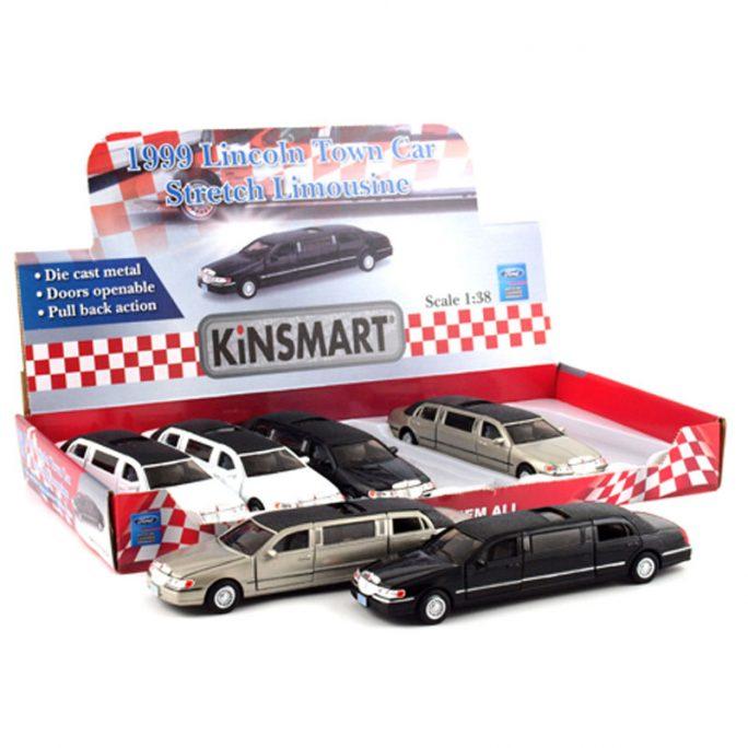 Leksaksbil Limousine Lincoln. Leksaksbilar i metall med taklucka, öppningsbara dörrar och motorhuv. Modellbilar metall skala 1:38 från Kinsmart. Köp leksaksbilar metall hos LillaFilur.se