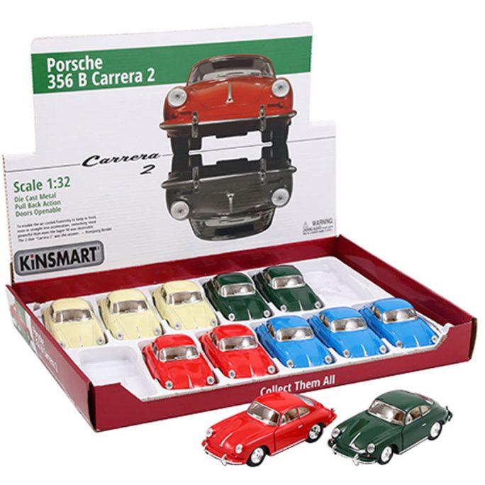 Leksaksbil Porsche 356 b Carrera 2. Leksaksbil metall retro. Porsche Carrera gul, röd, blå eller grön. Storlek 13 centimeter, skala 1:32. Beställ leksaksbilar på nätet hos LillaFilur.se