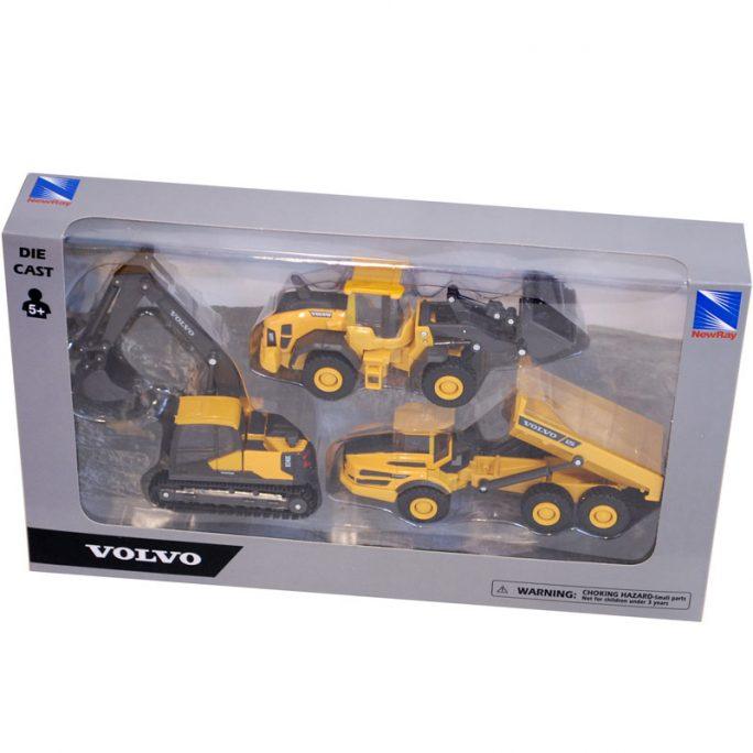Leksaksbilar metall Volvo arbetsmaskiner. Innehåller leksaksbil grävmaskin, dumper och hjullastare. LillaFilur.se