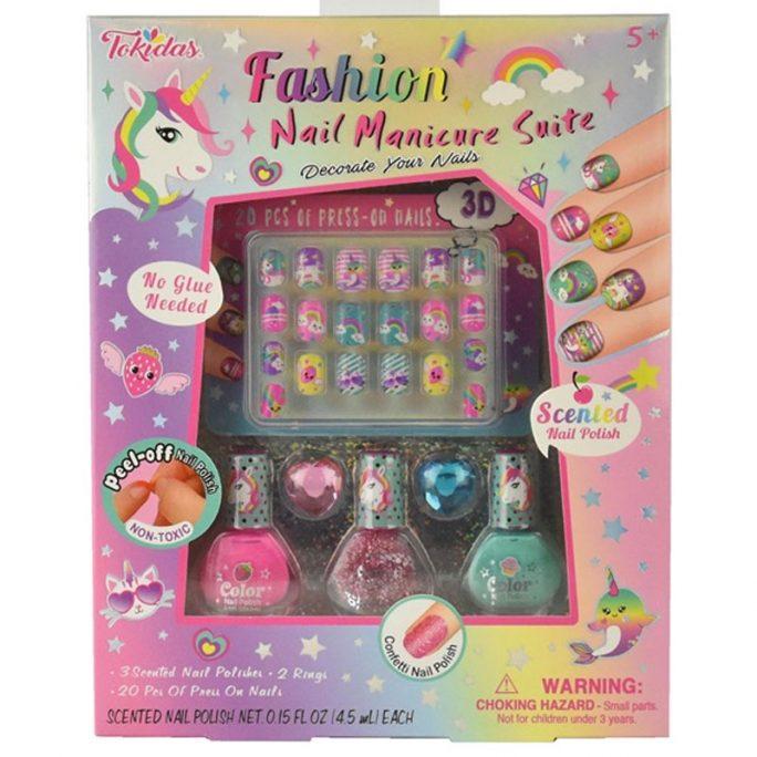 Set med doft nagellack, lösnaglar som klistras på utan lim och 2 stycken ringar med hjärtan. Assoccearer för barn. Köp nagellack med lukt på LillaFilur.se