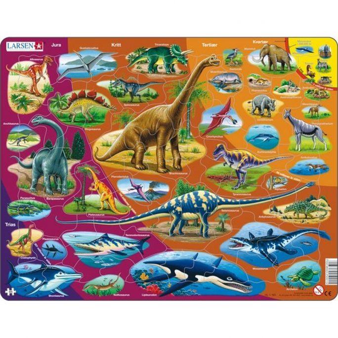 Barnpussel med dinosaurier och urtidsdjur. Lek och lär leksak med information om olika urtidsdjur och namnen på tiden de levde tex Trias, Jura, Krita. Barn pussel Innehåller 85 bitar.