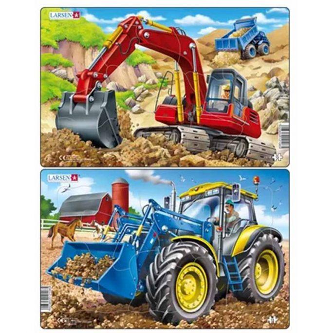 Pussel barn med traktor eller grävmaskin. Barnpussel med 15 bitar i kraftig papp. Beställ pussel för barn hos LillaFilur.se