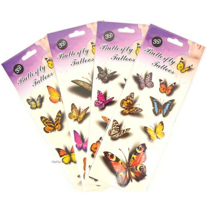 Tillfälliga tatueringar barn djur 3d. Barn Tatueringar med Djur - 3d Fjärilar. Beställ gnuggisar barn hos Lilla Filur.