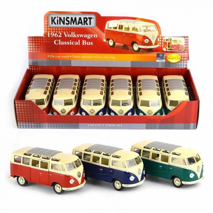 Stor leksaksbil retro Volkswagen Classical Bus 1962. Finns röd, grön och blå. Beställ retro leksaksbilar hos LillaFilur.se