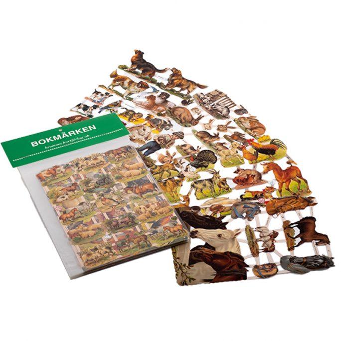 Bokmärken med hästar, katter, hundar, bondgårdsdjur mm. Paket med 5 olika ark bokmärken i gammeldags stil. Köp bokmärken och bokmärkesalbum på LillaFilur.se
