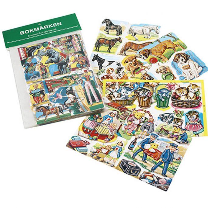 Bokmärken med glitter. Paket med 5 ark Glitter bokmärken. Köp bokmärken och bokmärkesalbum på LillaFilur.se