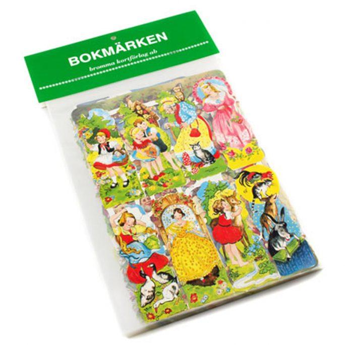 Bokmärken Sagor 5 ark. Paket med 5 olika hela ark med motiv från sagor. Beställ bokmärken och bokmärkesalbum på LillaFilur.se