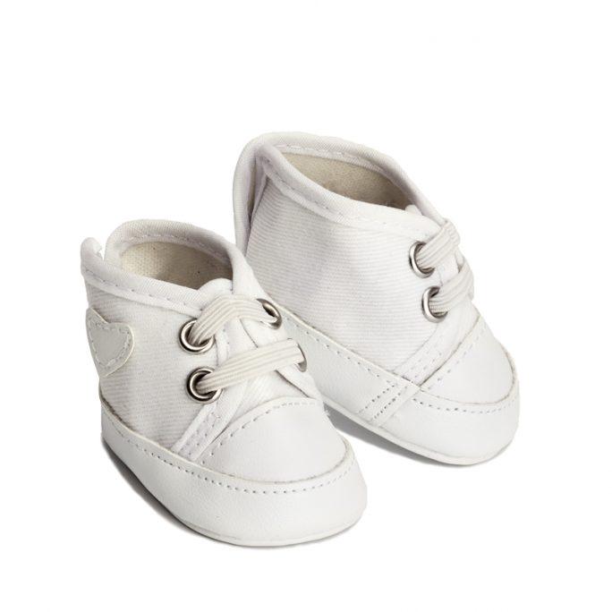 Dockkläder till Lillan Docka och andra dockor upp till 36 cm. Vita Dockskor liknande Converse. Köp dockkläder och docktillbehör på LillaFilur.se