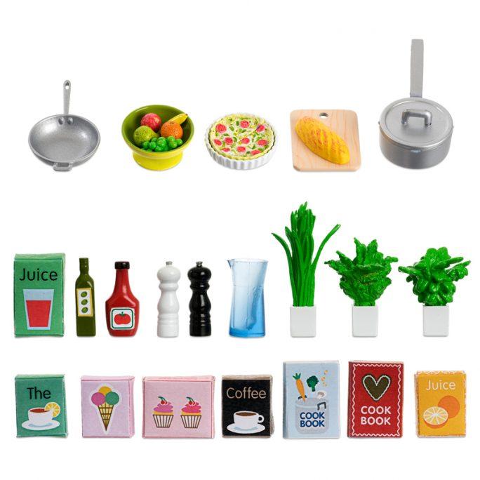 Dockskåp tillbehör kök Rea. Paket med Lundby kökstillbehör med förpackningar, kastruller, paj, bröd och kryddor. Köp på LillaFilur.se