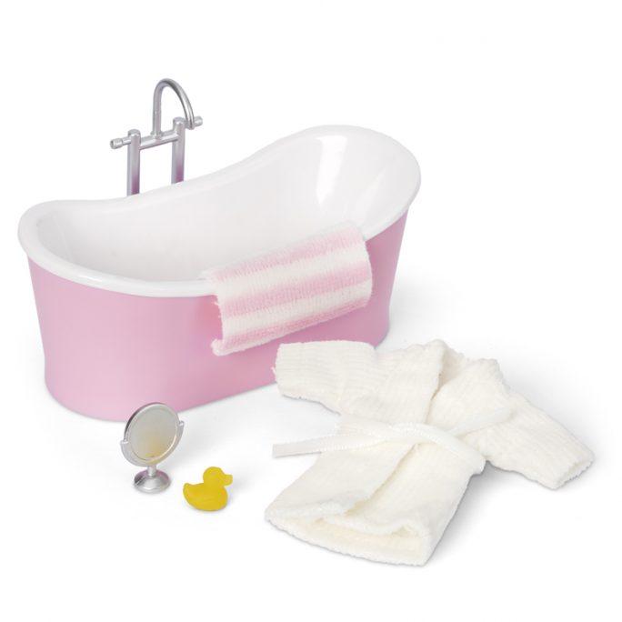 Dockskåpsmöbler Rea badrum. Set med badkar, badrock, badhandduk, spegel och badanka för dockskåp. Skala 1:18. Köp dockskåpsmöbler rea på LillaFilur.se