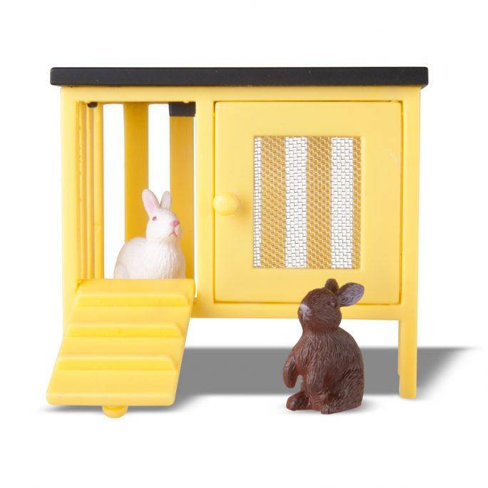 Tillbehör till dockskåp Småland Lundby. Dockskåps tillbehör Kaniner och kaninbur. Köp dockskåpsmöbler och tillbehör på LillaFilur.se