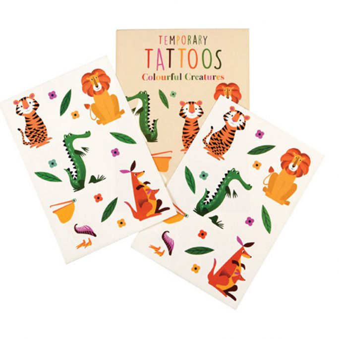 Barntatueringar, temporary tattoos med vilda djur. Beställ gnuggisar och tillfälliga tatueringar hos LillaFilur.se