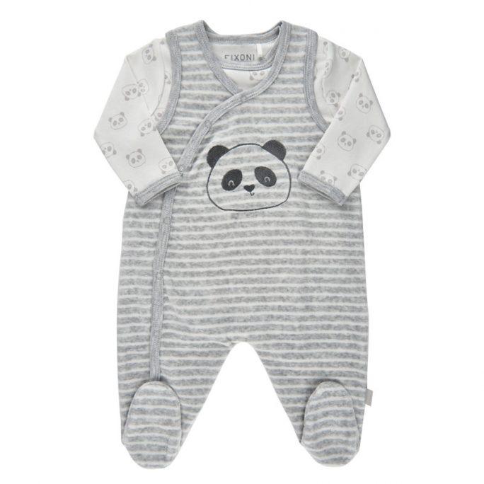 Babykläder storlek 44 cl. Gullig sparkdräkt i velour med matchande body med pandor. Beställ babykläder och prematurkläder storlek 44 cl på LillaFilur.se