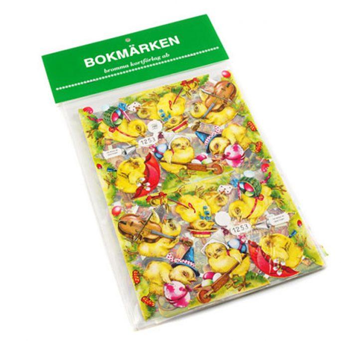 Bokmärken Påsk. Fina bokmärken med blandade påskmotiv. Innehåller 5 hela ark med bokmärken. Beställ bokmärken och bokmärkesalbum på LillaFilur.se