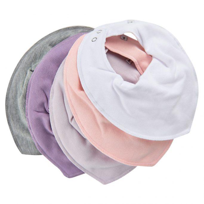 Pippi drybib 5-pack rosa. Paket med 5 stycken Pippi drybib. Innehåller 5 stycken enfärgade dregglisar från Pippi.