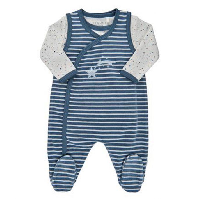 Prematur sparkdräkt body storlek 44 blå stjärnor. Beställ prematur kläder storlek 32, 38, 40, 44 och 48 cl på LillaFilur.se