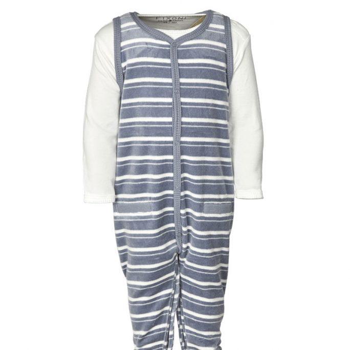 Prematurkläder storlek 44 cl. Set med sparkdräkt och pody för prematur barn. Blå velour dress med fot. LillaFilur.se