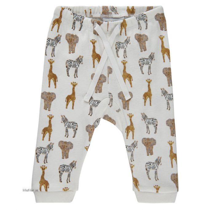 Babykläder nyfödd storlek 50, 56, 62, 68 och 74. Vita byxor baby med mönster. Beställ Fixoni babykläder på LillaFilur.se