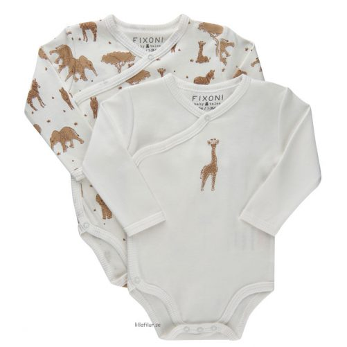Babykläder Omlottbody Baby Vit Djur 2-pack. Köp omlottbody bebis på LillaFilur.se