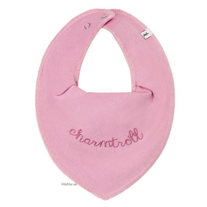 Pippi Dregglis Drybib med text Charmtroll rosa. Enfärgade drybibs med text. Finns olika färger. Beställ dregglisar på LillaFilur.se