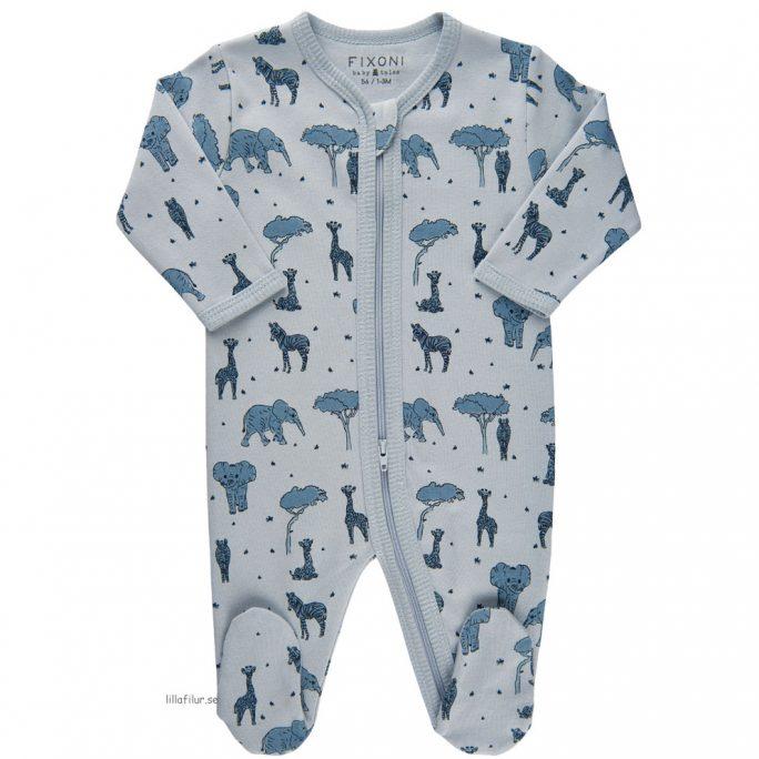 Prematur pyjamas baby med dubbel dragkedja. Beställ ekologiska prematurkläder storlek 44 hos LillaFilur.se