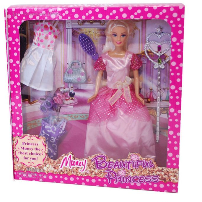 Mode docka liknande Barbie docka med dockkläder och dock skor, väska och borste samt fe stav. LillaFilur.se