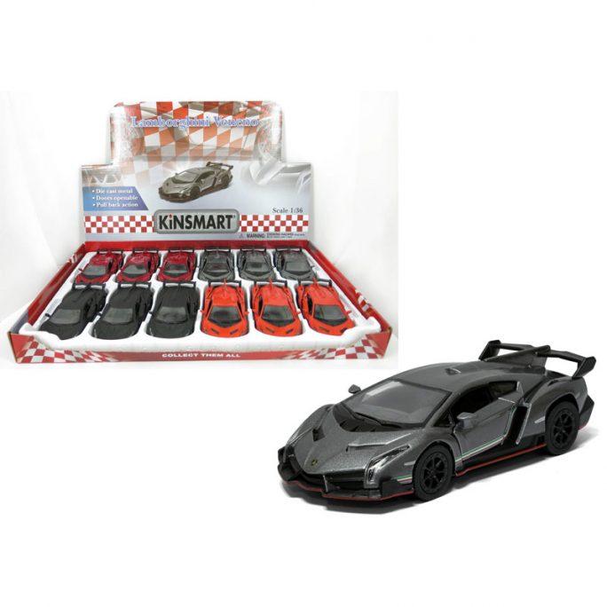 Lamborghini Veneno leksaksbil i metall med pullback och öppningsbara dörrar. Lamborgini finns i svart, röd, grå och orange. Skala 1:36, 13 cm. Beställ fina leksaksbilar på LillaFilur.se