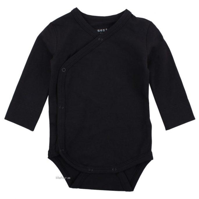 Prematurkläder för prematur barn prematur omlottbody svart 44 cl. Prematur body svart storlek 44 cl. Gots babykläder. LillaFilur.se