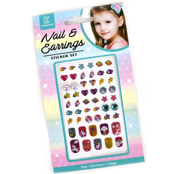 Stickers örhängen och lösnaglar barn. Set med totalt 51 delar. Stickers med enhörningar. Beställ leksaker med enhörning på LillaFilur.se