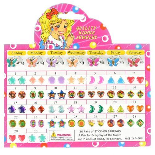 Klistermärke örhängen med stickers att fästa på örsnibben. Med fjärilar. Beställ accessoarer och örhängen barn på LillaFilur.se