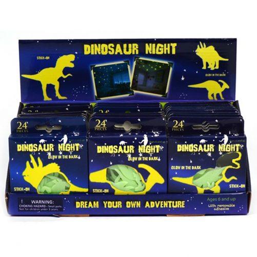 Glow in the dark dinosaurier 24 pack. Totalt 24 st självlysande stjärnor och dinosaurier. Väggstickers med självlysande figurer. LillaFilur.se