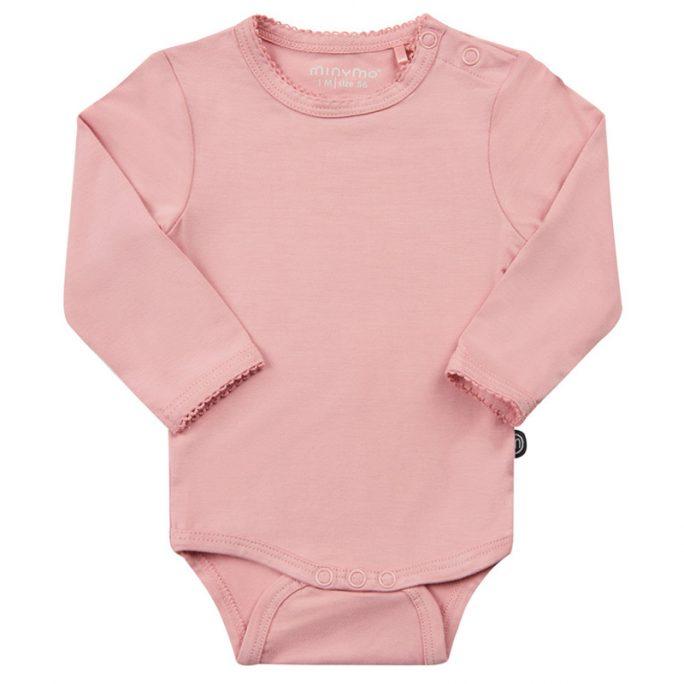 Minymo bambu body. Söt Minymo baby body storlek 50, 56, 62, 68, 74 och 80. Rosa body baby med spetskant.