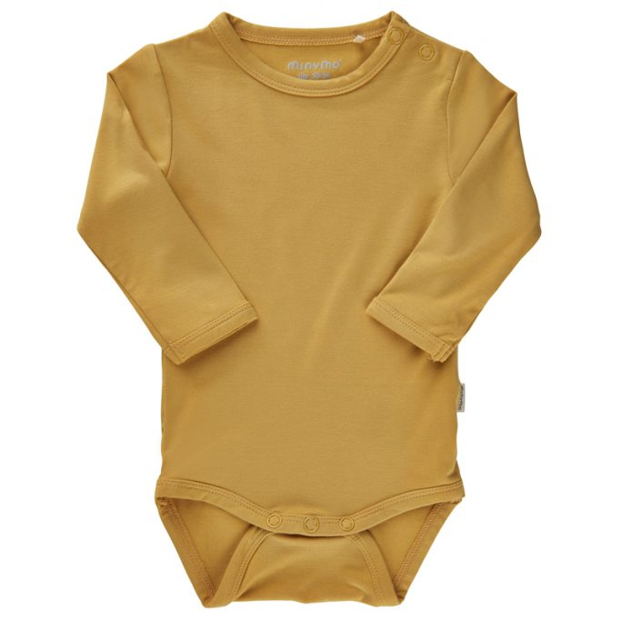 Minymo body baby bambu gul. Baby body storlek 50, 56, 62, 68, 74, 80. Beställ bambukläder barn och baby på LillaFilur.se