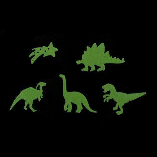 Självlysande dinosaurier, glow in the dark dinosaurier 24 pack. Paket med självlysande stjärnor och dinosaurier. Köp självlysande väggdekorationer till barnrum på LillaFilur.se