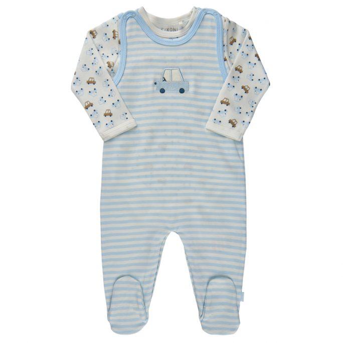 Set med body och sparkdräkt baby med fötter blå med bilar. Sparkdräkt o body baby storlek 44, 50, 56, 62, 68. Ekologisk bomull. Flera olika färger och mönster. Köp baby body Fixoni och sparkdräkt på LillaFilur.se.