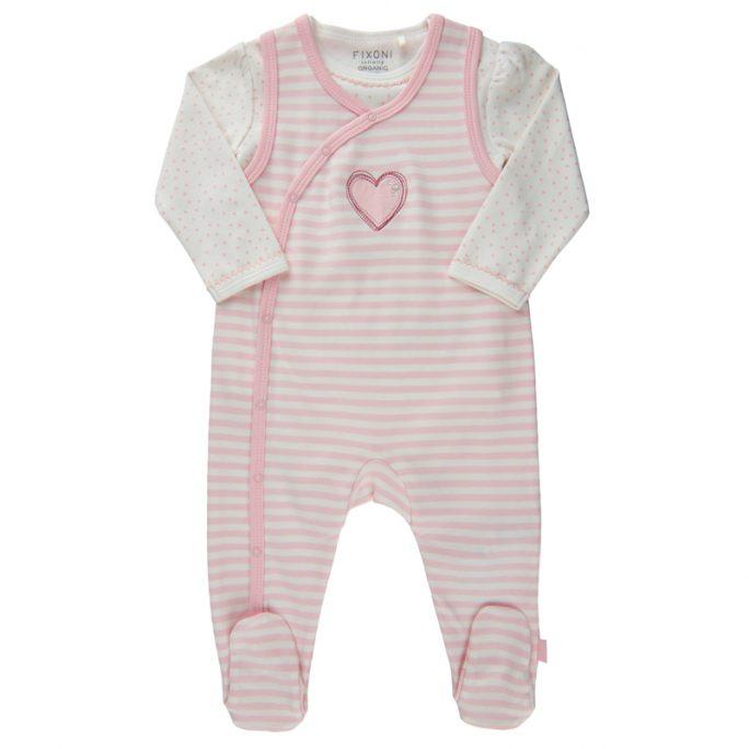 Set med body och sparkdräkt baby med fötter rosa. Sparkdräkt o body baby storlek 44, 50, 56, 62, 68. Ekologisk bomull. Flera olika färger och mönster. LillaFilur.se