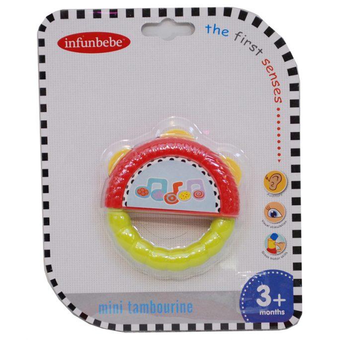 Babyleksaker, babyleksak skallra tamburin. Skallra med greppvänligt handtag. Passar baby 3 mån +. Beställ leksaker baby på LillaFilur.se