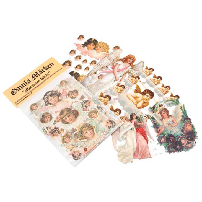 """Gammeldags bokmärken med änglar. Paket med 5 hela ark med olika motiv änglar """"Mormors Bästa"""". Köp bokmärken och bokmärkesalbum på LillaFilur.se"""