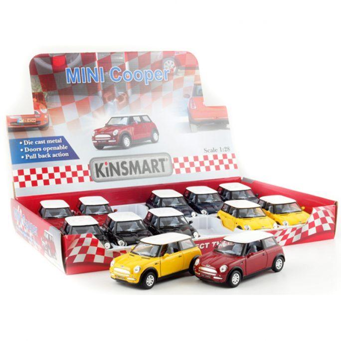 Leksaksbil metall Mini Cooper. Från Kinsmart. Leksaksbilar metall skala 1:28. Köp Kinsmart bilar på LillaFilur.se