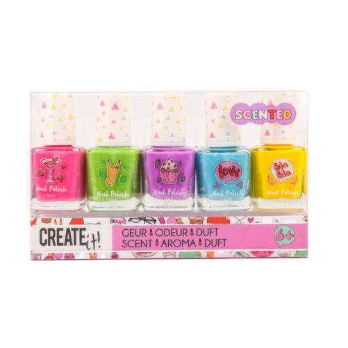 Nagellack barn med doft. 5-pack nagellack med doft - jordgubbe, äpple, vindruva, blåbär och banan. Varje nagellack innehåller 8 ml. Mer doftsuddigummi och doftpennor och doftnagellack på LillaFilur.se
