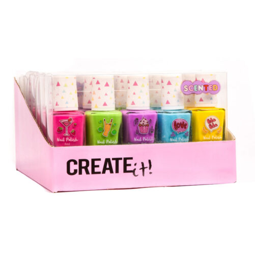 Nagellack barn som luktar gott. Innehåller 5 stycken nagellack med jordgubbsdoft, vindruva doft, äppledoft, blåbärsdoft och banandoft. Mer barnsmink och barn nagellack med doft på LillaFilur.se