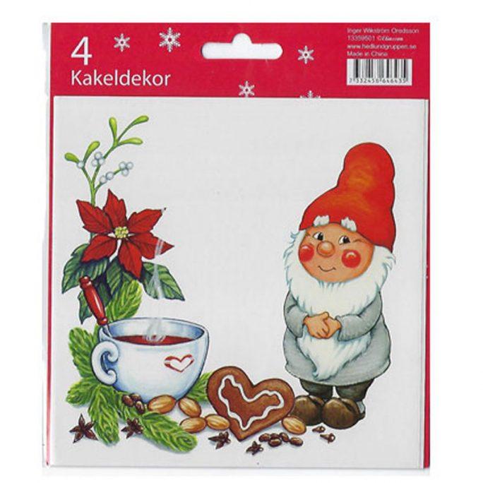 Kakeldekor kök julmotiv storlek 15x15 cm. Gulligt dekorkakel jul med tomte. Köp kakeldekor kök och jul på LillaFilur.se