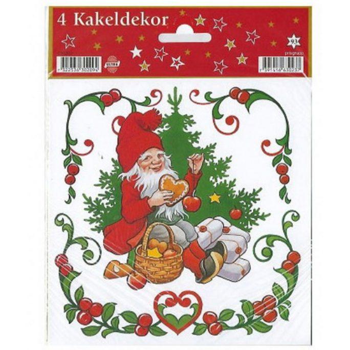 Kakeldekor jul julmotiv 4-pack storlek 15x15 cm. Köp självhäftande kakeldekor på LillaFilur.se