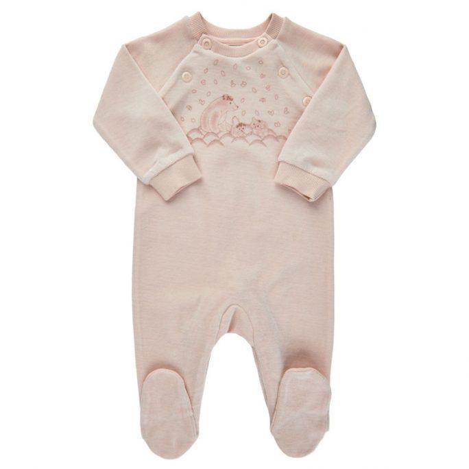 Sparkdräkt nyfödd baby med fot rosa velour. Babykläder nyfödd storlek 44 50 56 62 68 74. Ekologiska babykläder nyfödd flicka. LillaFilur.se
